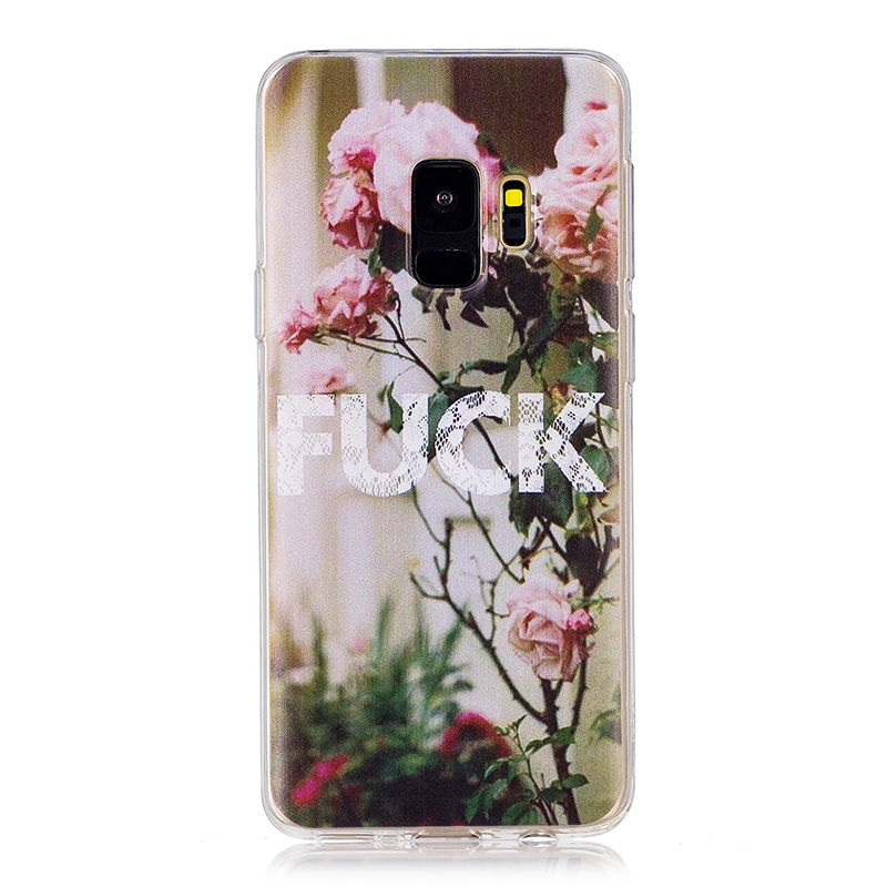 Samsung Printed Rubber Case Soft TPU Protective Phone Cover Shell for Galaxy S9 - FUCK