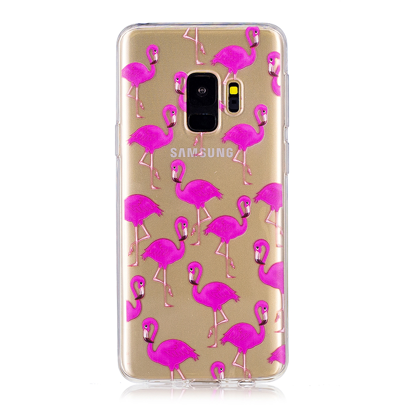 Samsung Printed Rubber Case Soft TPU Protective Phone Cover Shell for Galaxy S9 - Flamingos
