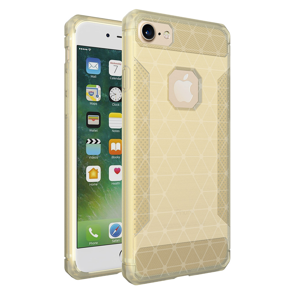 Slim Thin Clear TPU Bumper Case Fashion Soft Silicone Shockproof Back Cover for iPhone 7/8 - Golden