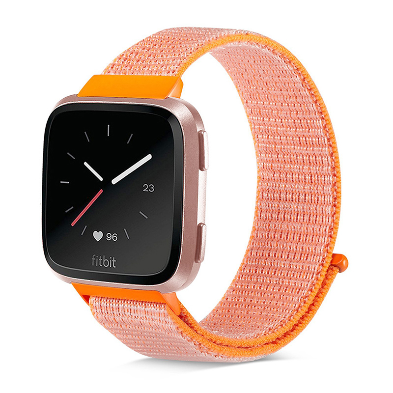 Fitbit Versa Nylon Woven Braided Watch Band Breathable Sports Replacement Wrist Strap - Orange