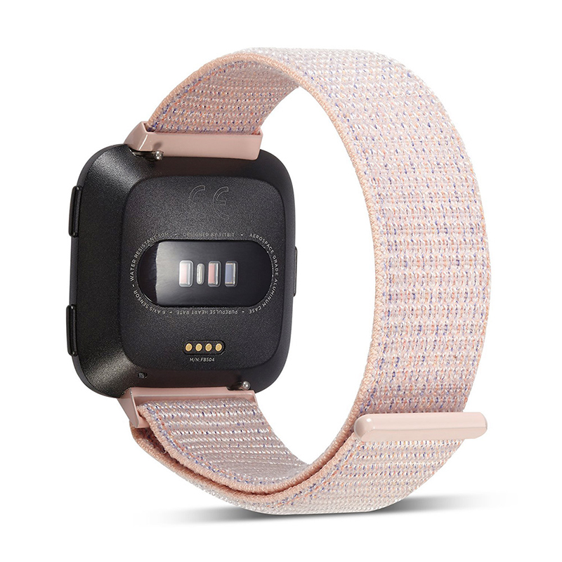 Fitbit Versa Nylon Woven Braided Watch Band Breathable Sports Replacement Wrist Strap - Pink