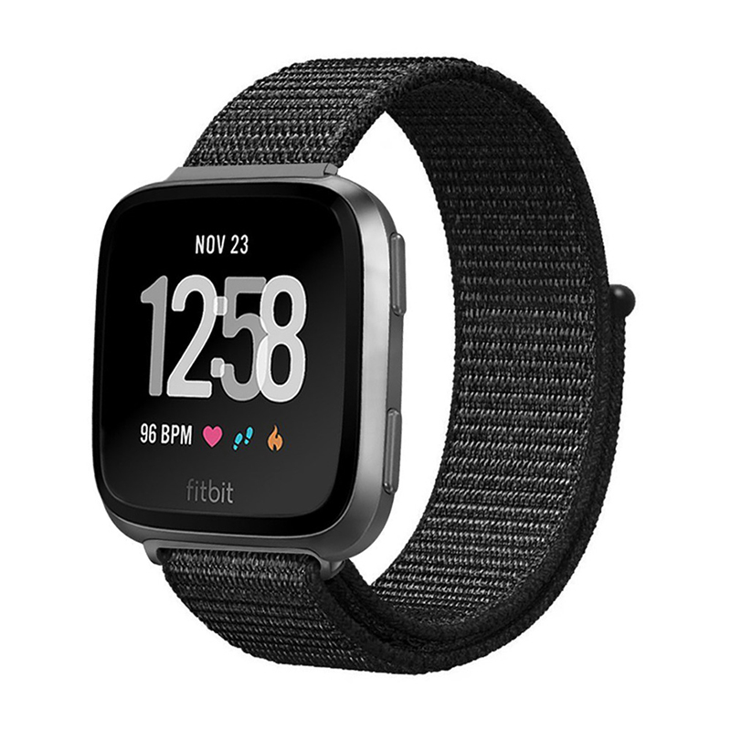 Fitbit Versa Nylon Woven Braided Watch Band Breathable Sports Replacement Wrist Strap - Black