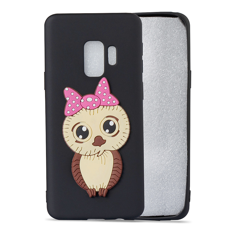 Samsung S9 3D Cartoon Owl Soft TPU Rubber Shockproof Case Back Cover Shell - Black