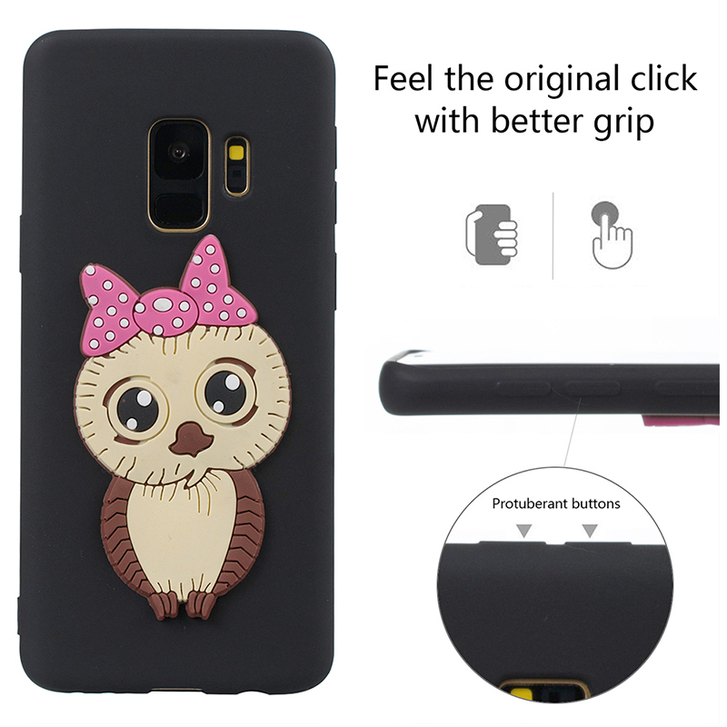 Samsung S9 3D Cartoon Owl Soft TPU Rubber Shockproof Case Back Cover Shell - Black