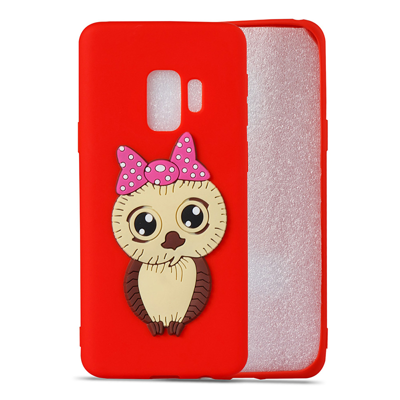 Samsung S9 3D Cartoon Owl Soft TPU Rubber Shockproof Case Back Cover Shell - Red