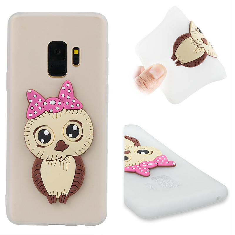 Samsung S9 3D Cartoon Owl Soft TPU Rubber Shockproof Case Back Cover Shell - White