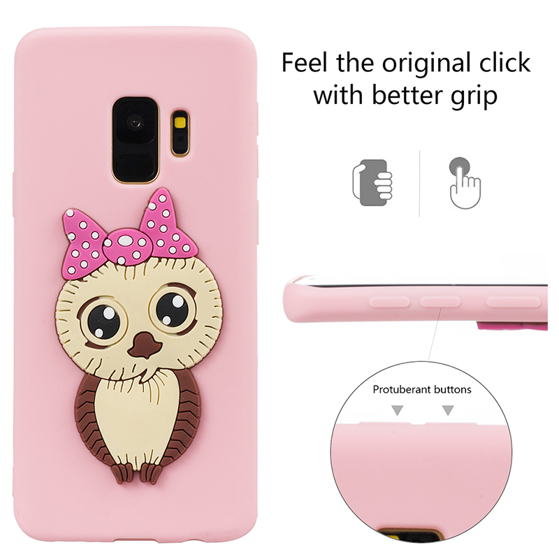 Samsung S9 3D Cartoon Owl Soft TPU Rubber Shockproof Case Back Cover Shell - Pink