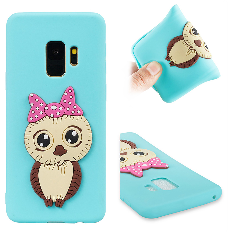 Samsung S9 3D Cartoon Owl Soft TPU Rubber Shockproof Case Back Cover Shell - Blue