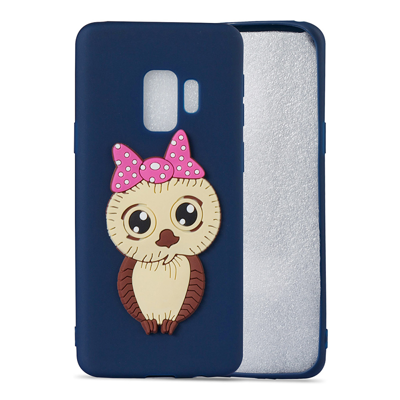 Samsung S9 3D Cartoon Owl Soft TPU Rubber Shockproof Case Back Cover Shell - Navy Blue
