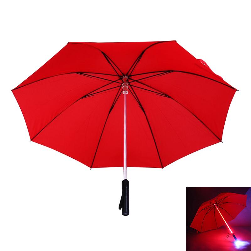 Light Saber LED Flashing Light Up Umbrella Night Protection - Red