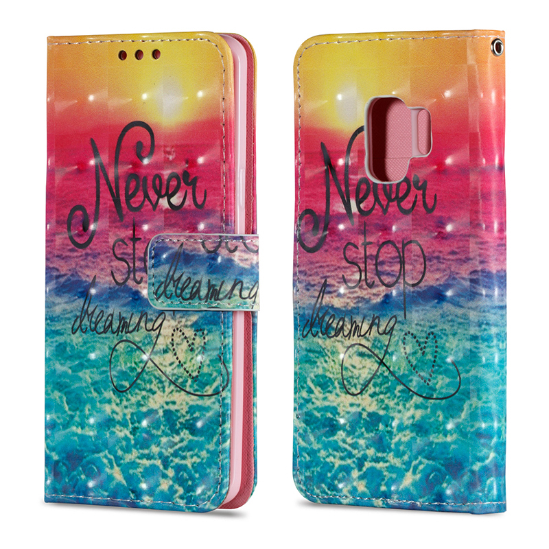 Vintage Painted PU Leather Case Smart Magnetic Flip Stand Cover with Card Holders for Samsung S9 - Pattern 1