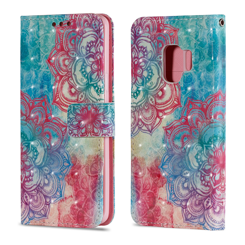 Vintage Painted PU Leather Case Smart Magnetic Flip Stand Cover with Card Holders for Samsung S9 - Pattern 2
