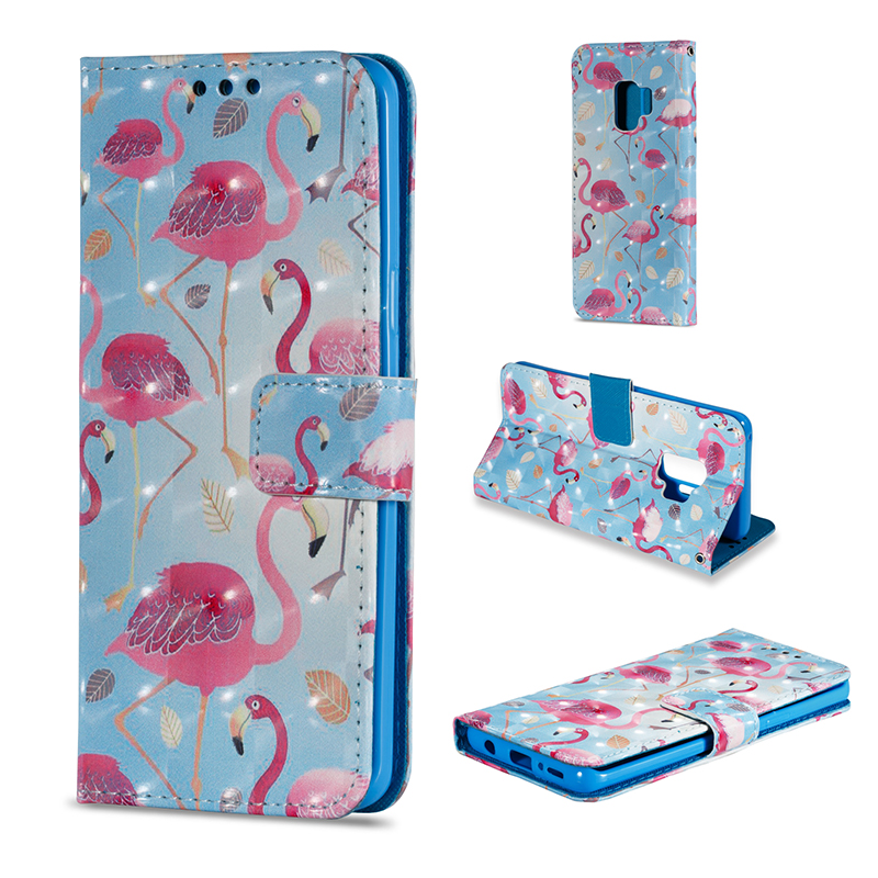 Vintage Painted PU Leather Case Smart Magnetic Flip Stand Cover with Card Holders for Samsung S9 - Pattern 9