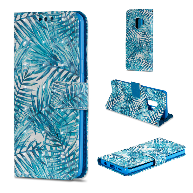 Vintage Painted PU Leather Case Smart Magnetic Flip Stand Cover with Card Holders for Samsung S9 - Pattern 10