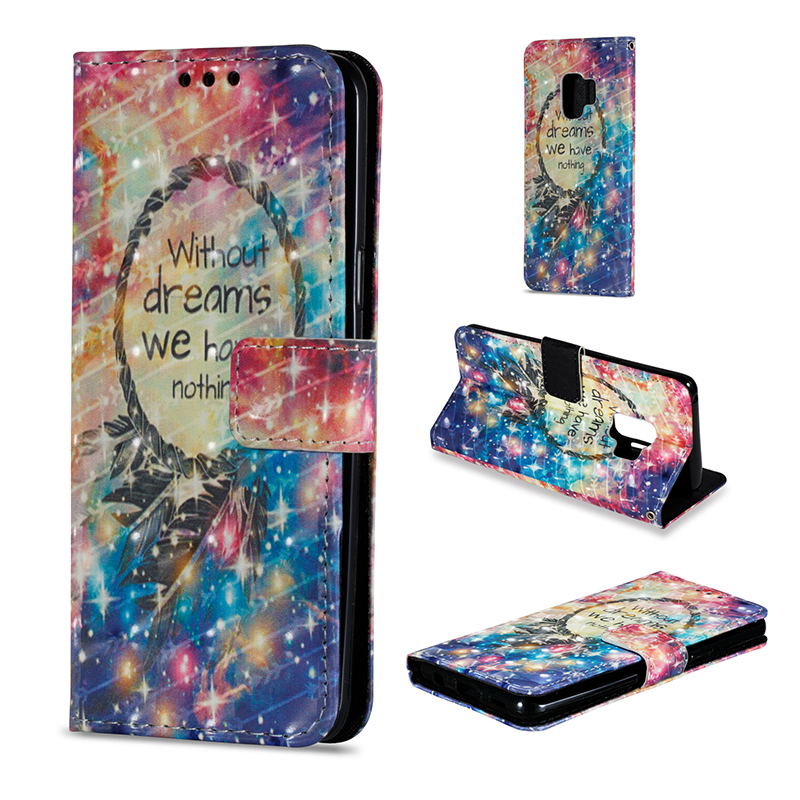 Vintage Painted PU Leather Case Smart Magnetic Flip Stand Cover with Card Holders for Samsung S9 - Pattern 12