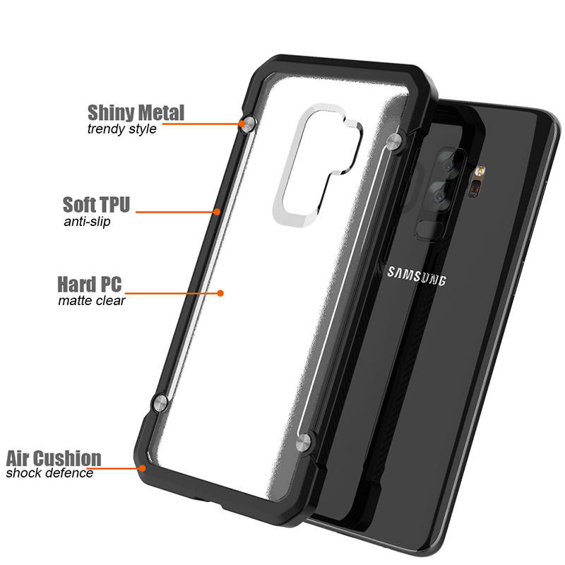 Shockproof Armor Case Hard PC Anti-Scratch Bumper Protective Back Cover for Samsung S9 Plus - Black Transparent
