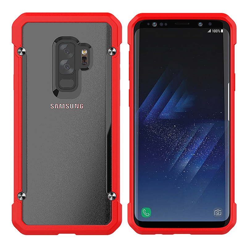 Shockproof Armor Case Hard PC Anti-Scratch Bumper Protective Back Cover for Samsung S9 Plus - Red