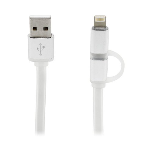 2 in 1 Charging Crystal Cable USB Data Cable for iPhone Android Phones - Silver