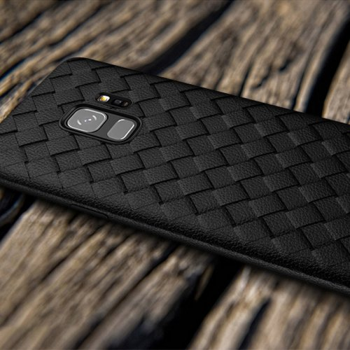 Slim Woven Painting Soft TPU Shockproof Case Back Cover for Samsung Galaxy S9 - Black