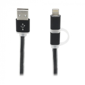 2 in 1 Charging Crystal Cable USB Data Cable for iPhone Android Phones - Black