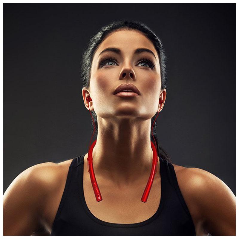 Wireless Bluetooth V4.1 Headphone Neckband In-ear Earphone for Sports Running - Red