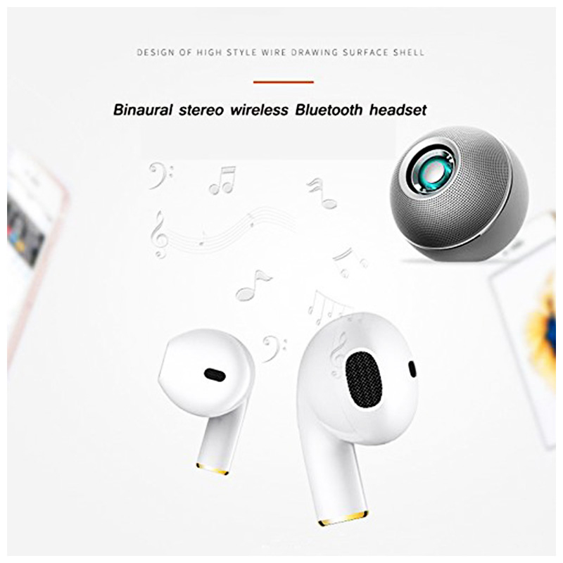 Mini i8x Wireless Bluetooth 4.1 Earphone Stereo Hands free Single Headset - White
