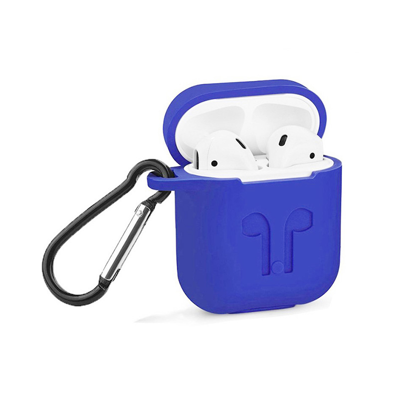 Portable Wireless Bluetooth Earphone Silicone Protective Box with Hanging Loop for Apple AirPods - Blue