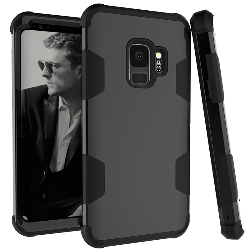 Samsung S9 Hard PC Cover Case with Shock Absorption Bumper Hybird Phone Case - Black