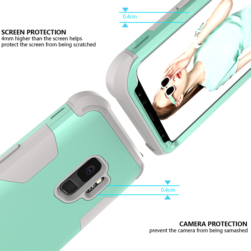 Samsung S9 Hard PC Cover Case with Shock Absorption Bumper Hybird Phone Case - Green