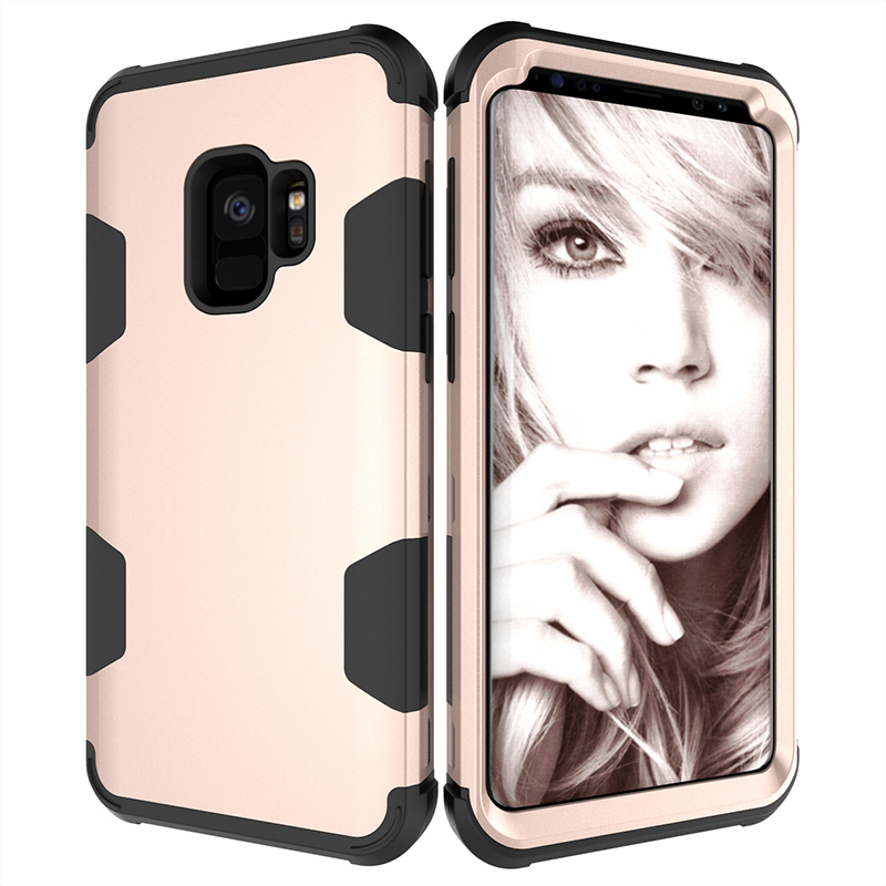 Samsung S9 Hard PC Cover Case with Shock Absorption Bumper Hybird Phone Case - Gold