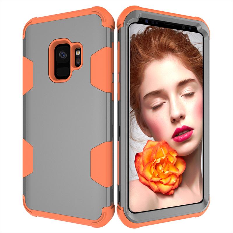 Samsung S9 Hard PC Cover Case with Shock Absorption Bumper Hybird Phone Case - Grey+Orange