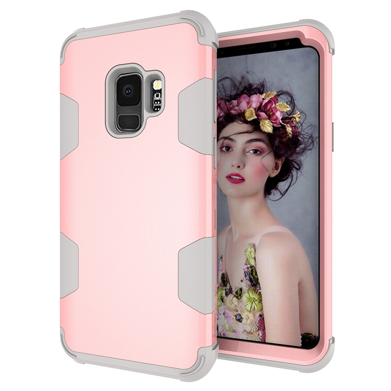 Samsung S9 Hard PC Cover Case with Shock Absorption Bumper Hybird Phone Case - Rose Gold+Grey