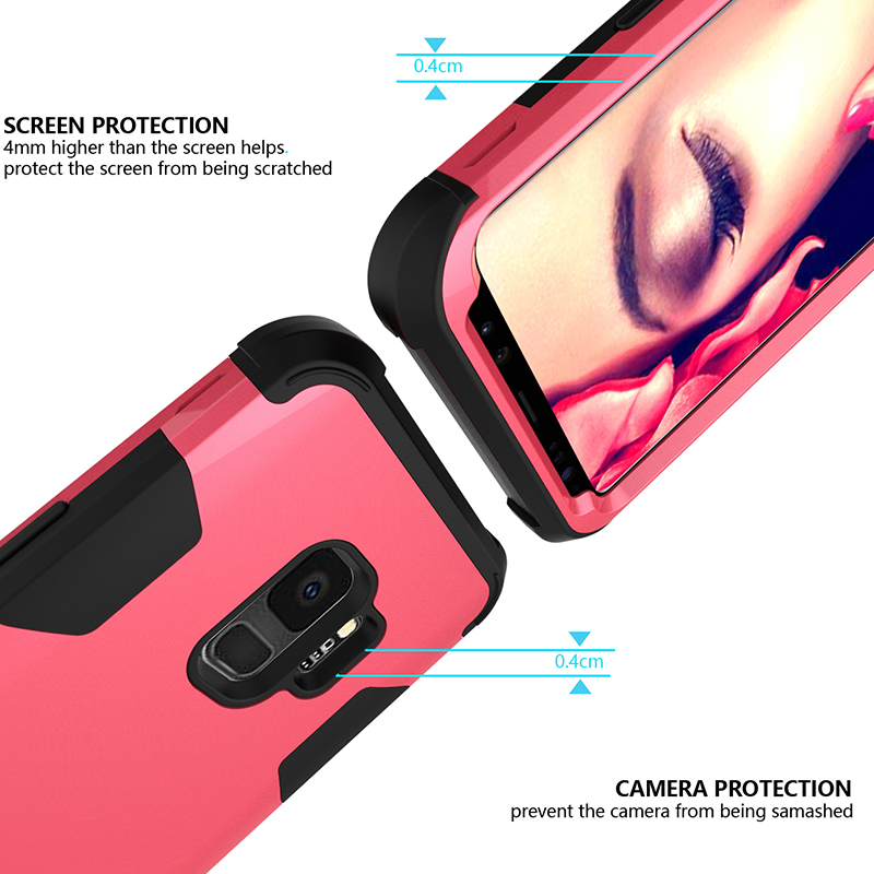 Samsung S9 Hard PC Cover Case with Shock Absorption Bumper Hybird Phone Case - Rose Red