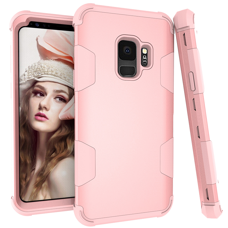 Samsung S9 Hard PC Cover Case with Shock Absorption Bumper Hybird Phone Case - Rose Gold