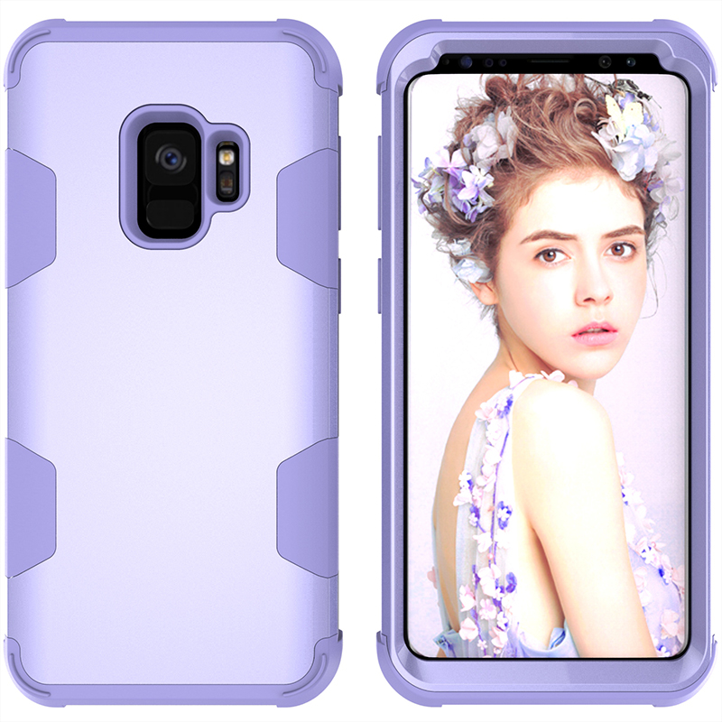 Samsung S9 Hard PC Cover Case with Shock Absorption Bumper Hybird Phone Case - Purple