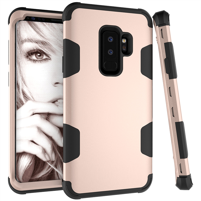Hybird Armor Case Shock Absorption Protective Phone Case Cover for Samsung S9 Plus - Gold