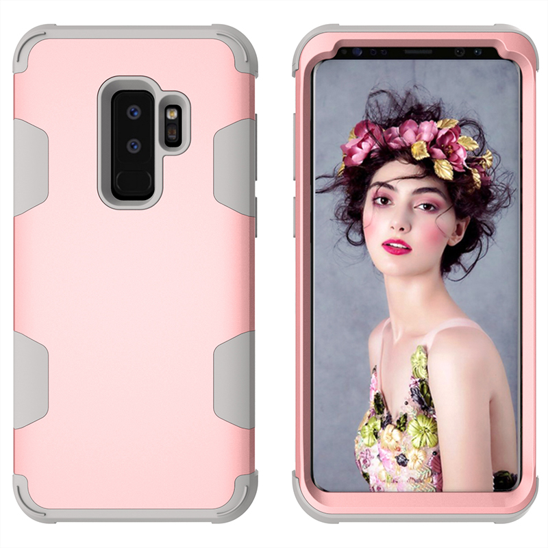 Hybird Armor Case Shock Absorption Protective Phone Case Cover for Samsung S9 Plus - Rose Gold+Grey
