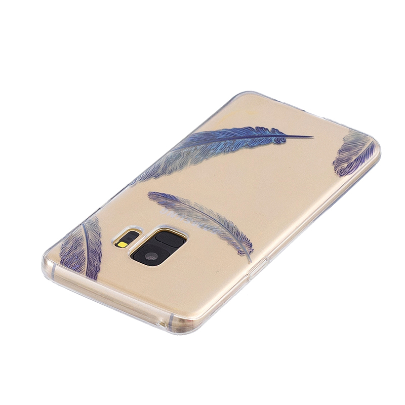 Samsung Printed Rubber Case Soft TPU Protective Phone Cover Shell for Galaxy S9 - Blue Feather