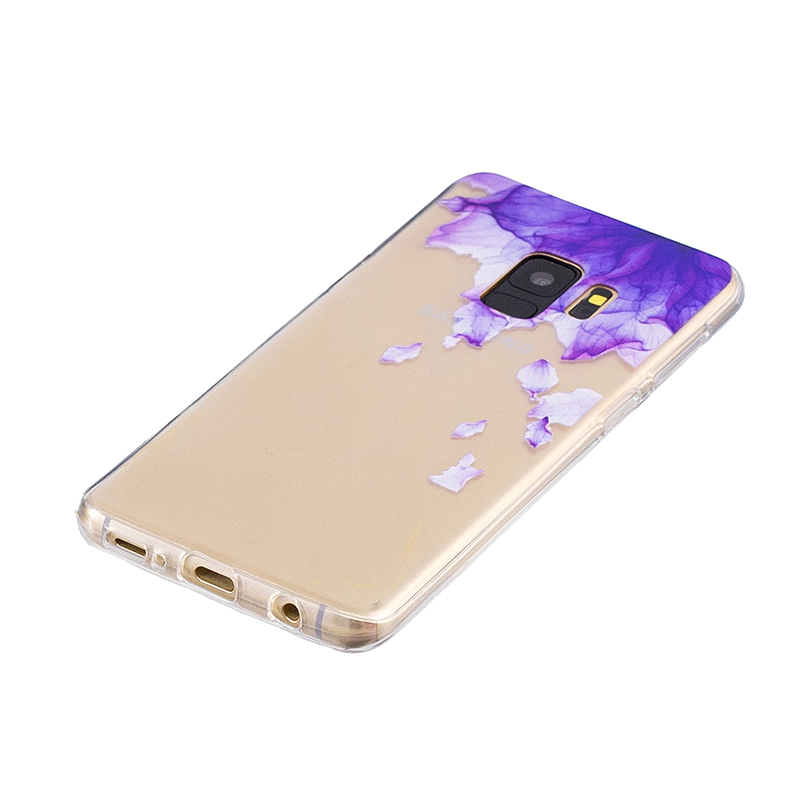 Samsung Printed Rubber Case Soft TPU Protective Phone Cover Shell for Galaxy S9 - Purple Flower