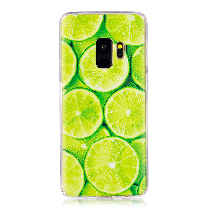 Samsung Printed Rubber Case Soft TPU Protective Phone Cover Shell for Galaxy S9 - Lime