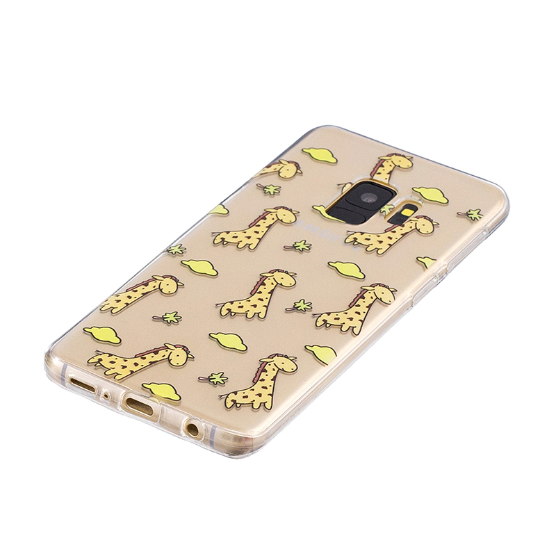 Samsung Printed Rubber Case Soft TPU Protective Phone Cover Shell for Galaxy S9 - Giraffe