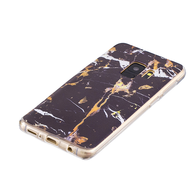 Samsung Printed Rubber Case Soft TPU Protective Phone Cover Shell for Galaxy S9 - Black Marble