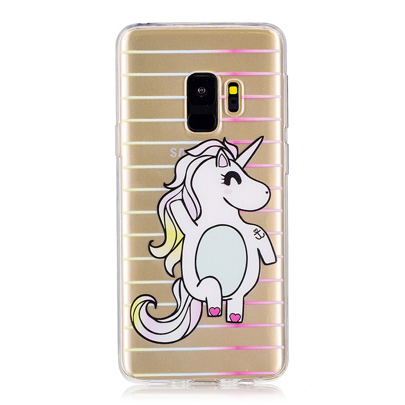 Samsung Printed Rubber Case Soft TPU Protective Phone Cover Shell for Galaxy S9 - Unicorn