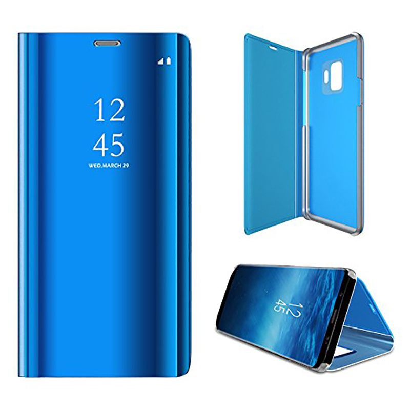 Clear Mirror Plating Leather Flip Stand Case Cover for Samsung S9 - Blue
