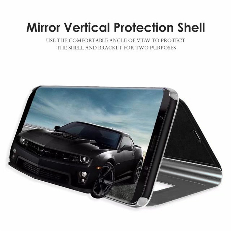 Clear Mirror Plating Leather Flip Stand Case Cover for Samsung S9 - Black