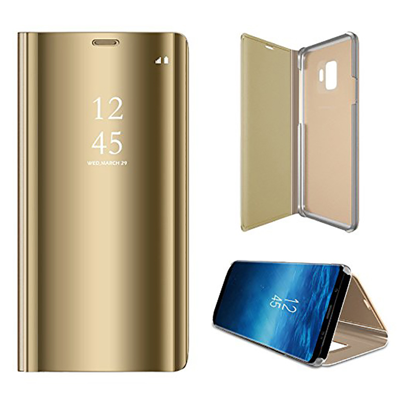 Clear Mirror Plating Leather Flip Stand Case Cover for Samsung S9 - Gold