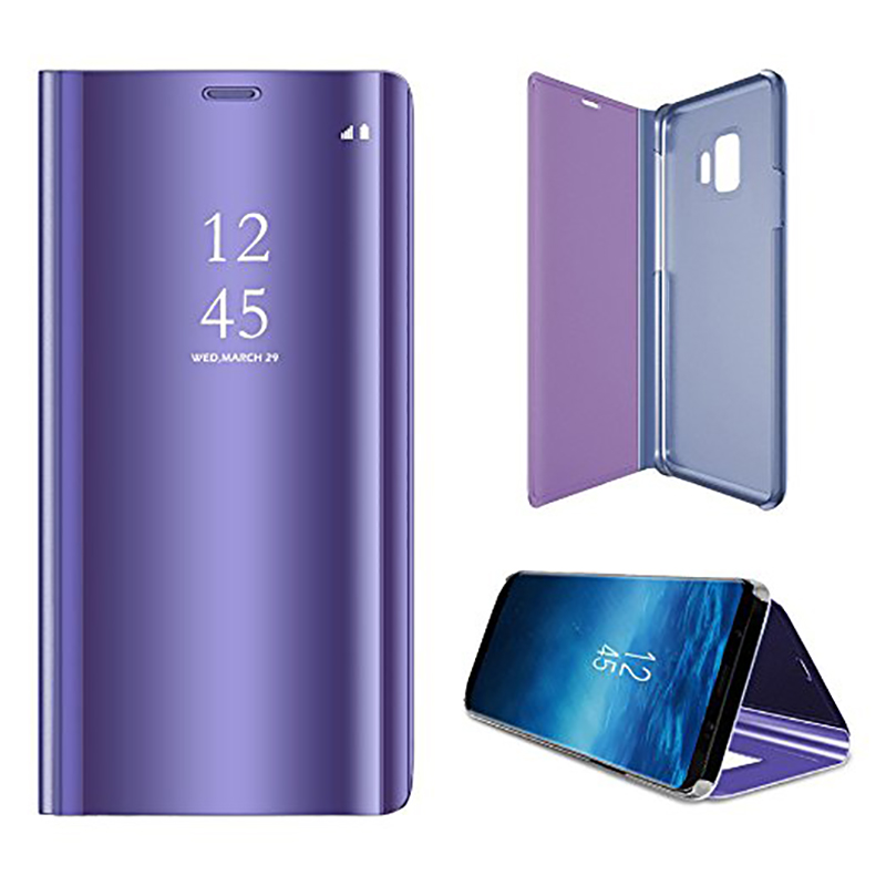 Clear Mirror Plating Leather Flip Stand Case Cover for Samsung S9 - Purple