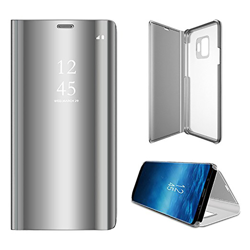 Clear Mirror Plating Leather Flip Stand Case Cover for Samsung S9 - Silver