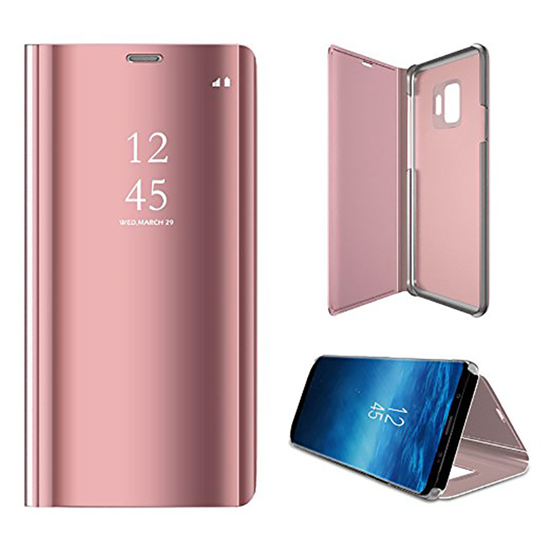 Clear Mirror Plating Leather Flip Stand Case Cover for Samsung S9 - Rose Gold