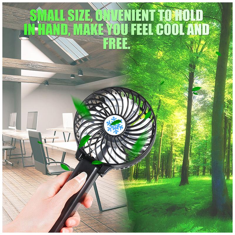 Handheld Mini USB Fan Built-in Battery Foldable Portable Desktop Table Cooler - Black